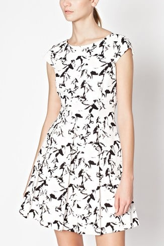 Hatched Horses Cap Sleeve Dress