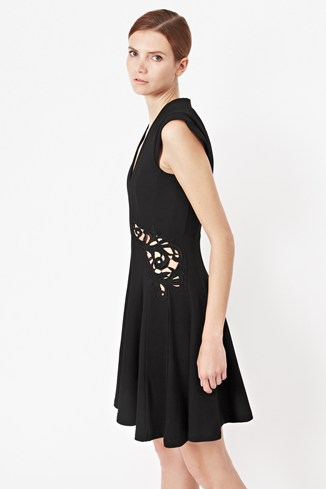 Marie Stretch Embroidered Flared Dress