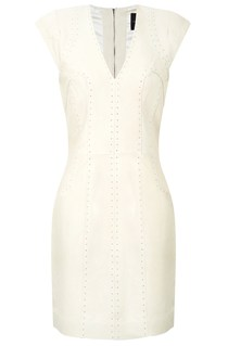Capped Sleeve Leather Dress White