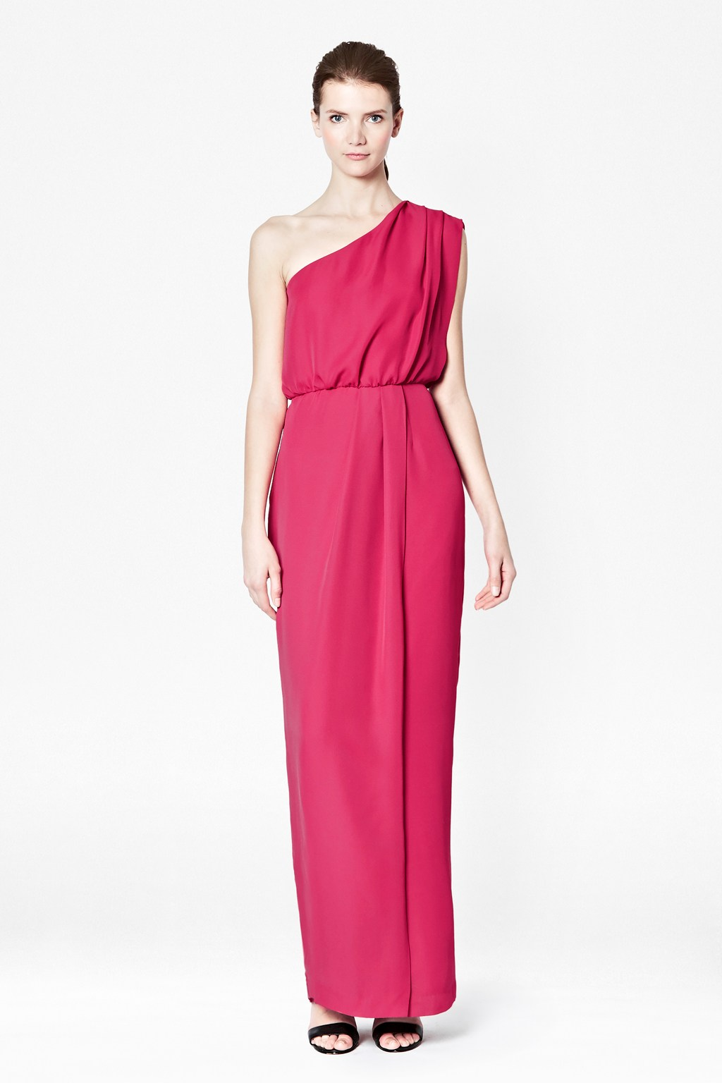 Turmec Pink One Shoulder Maxi Dress