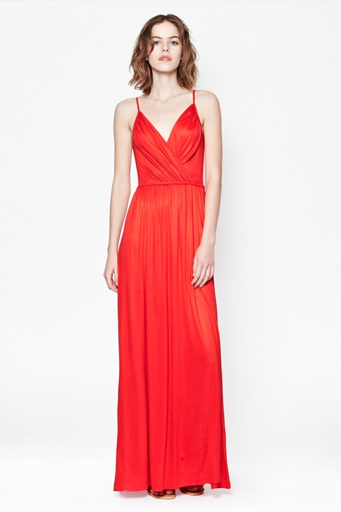 2b7fe1a6f58f Styling Up - Alanis Jersey Red V-Neck Maxi Dress - Dresses - French ...