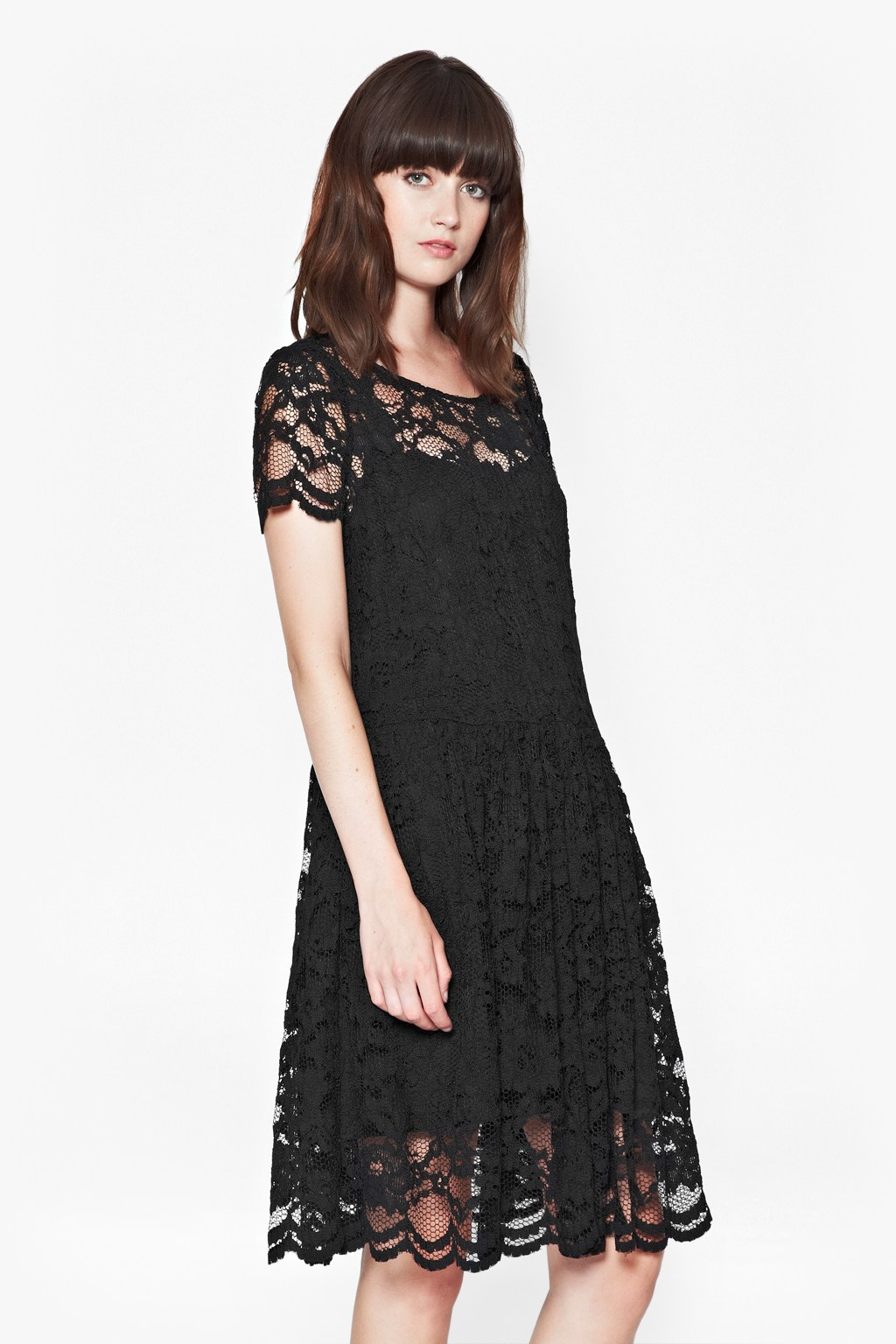 Lila Lace Drop Waist Dress $45.00 AT vintagedancer.com