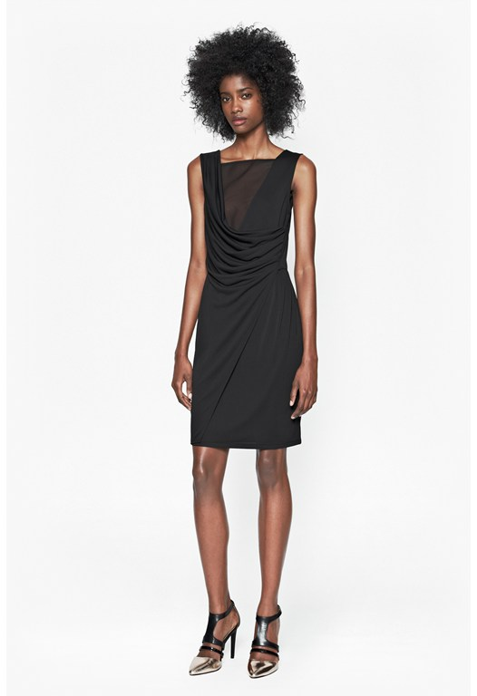 Mona Crepe Drape Dress