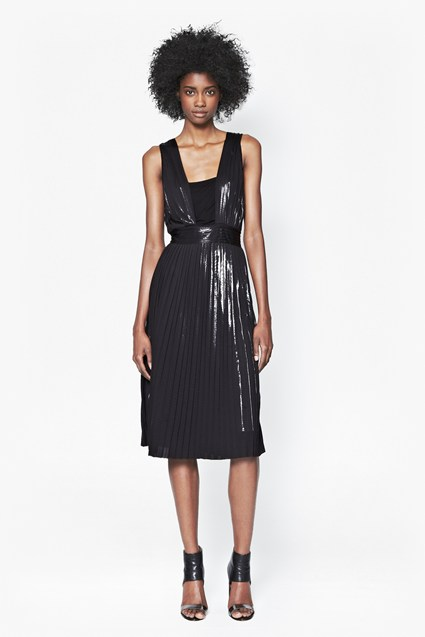 Foil Pleated Dress