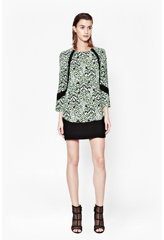 Leopard Moth Crepe Tunic Dress