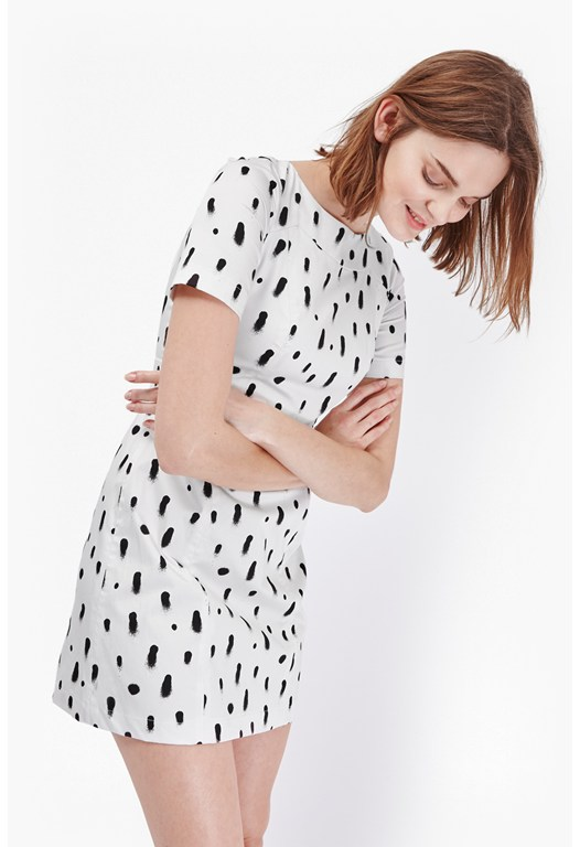 Polka Spray Structured Dress