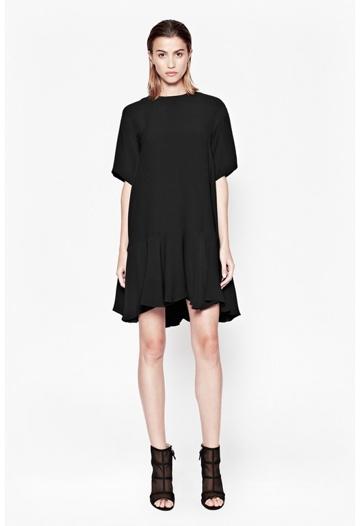 Downtown Crepe Frill Hem Dress