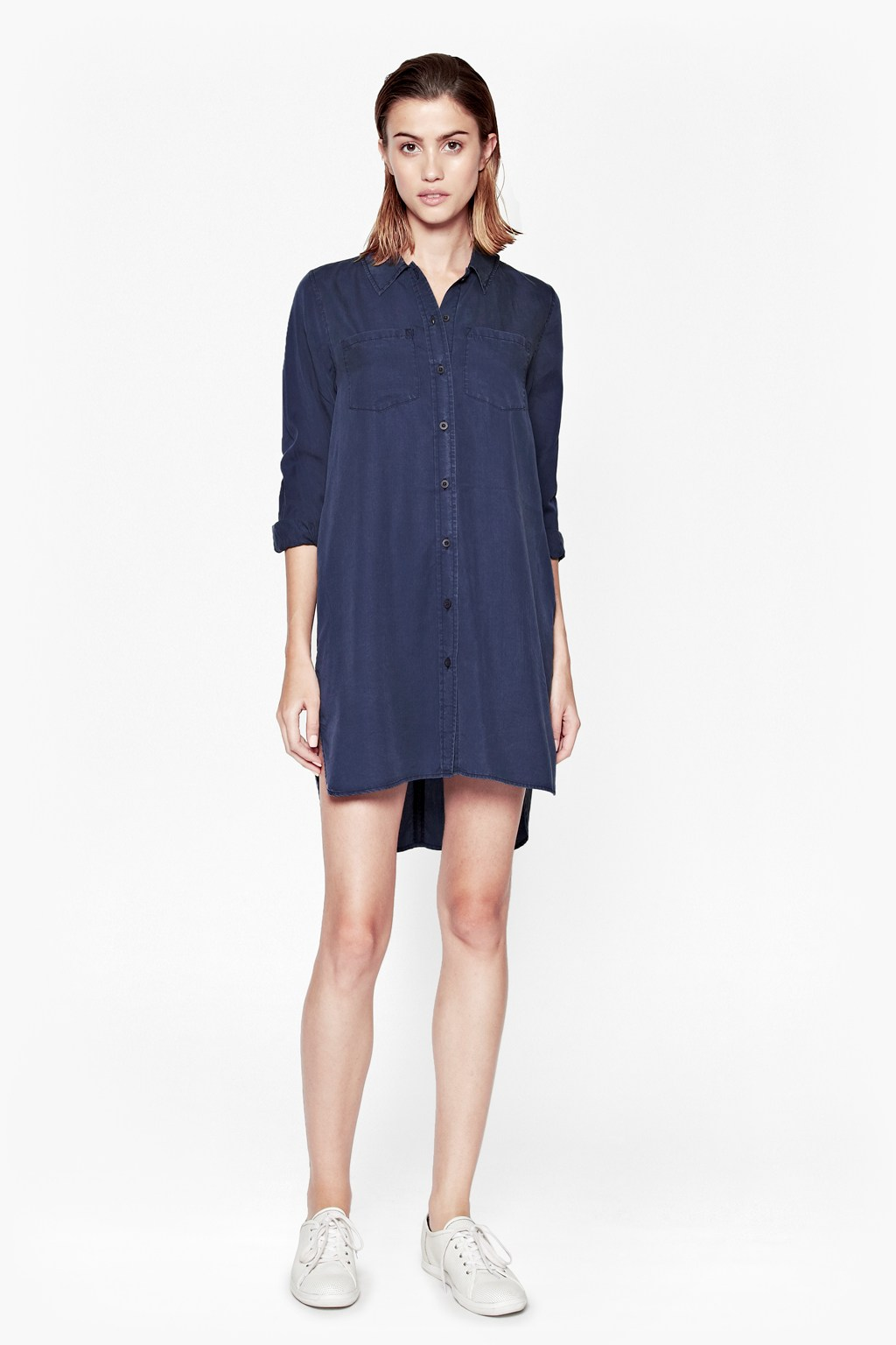 Cobalt Tencel Shirt Dress Click And Collect French