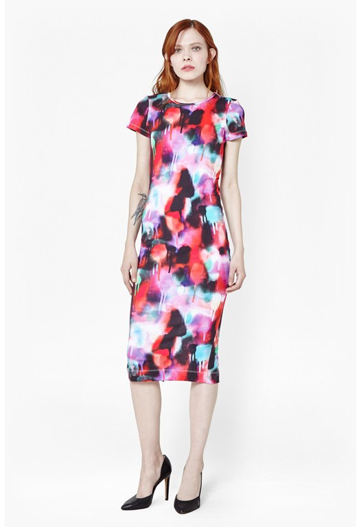 Miami Graffiti Jersey Midi Dress