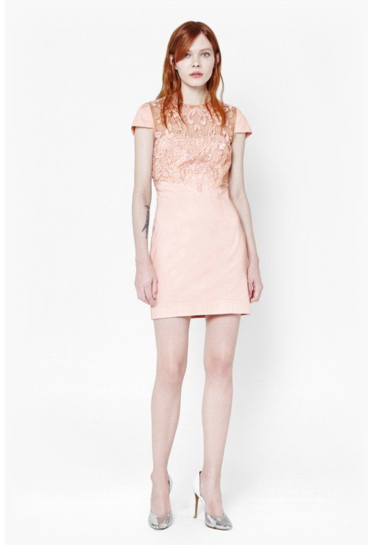 Foxen Embellished Cotton Dress