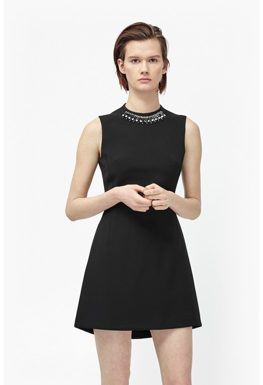 Sundae Suiting Embellished Collar Dress