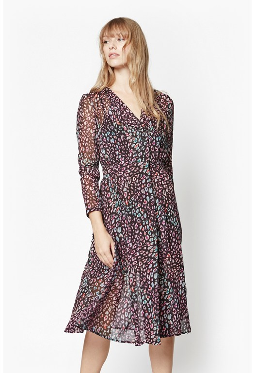 Electric Leopard Wrap Dress