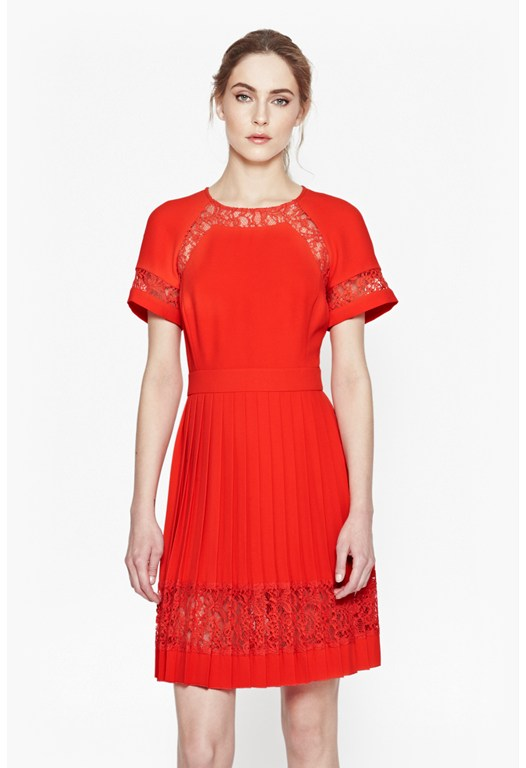 Arrow Lace Pleated Dress