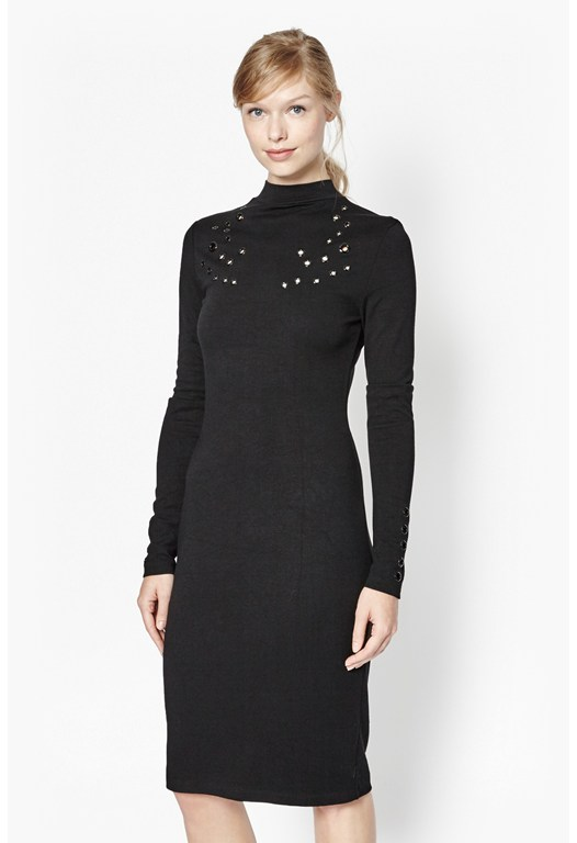 Ele Eyelet Embellished Dress