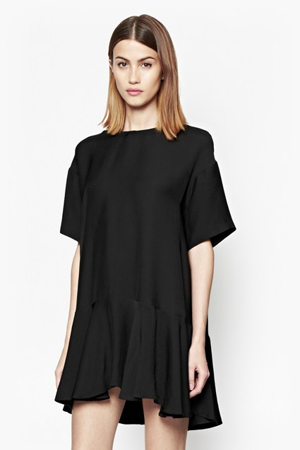 Downtown Frill Oversized Crepe Dress