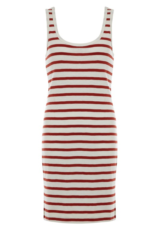 Stripe Vest Dress White