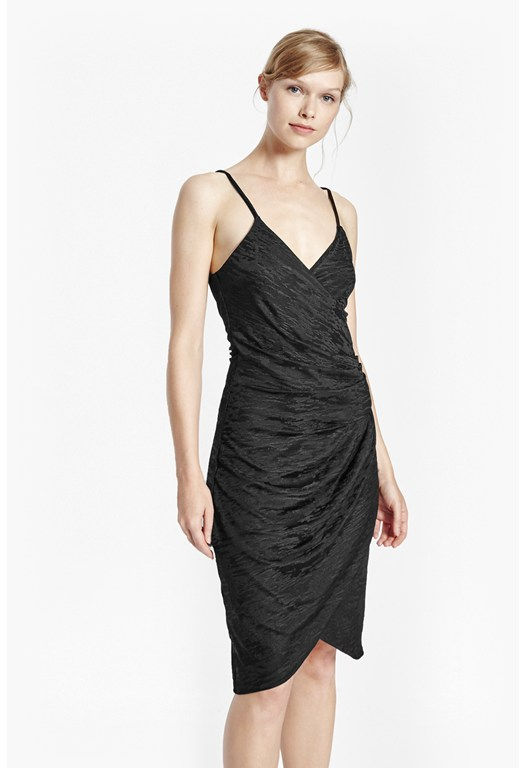 Satin Jacquard Stretch Strappy Dress