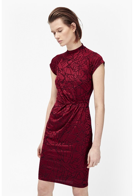 Shatter Jacquard High Neck Dress
