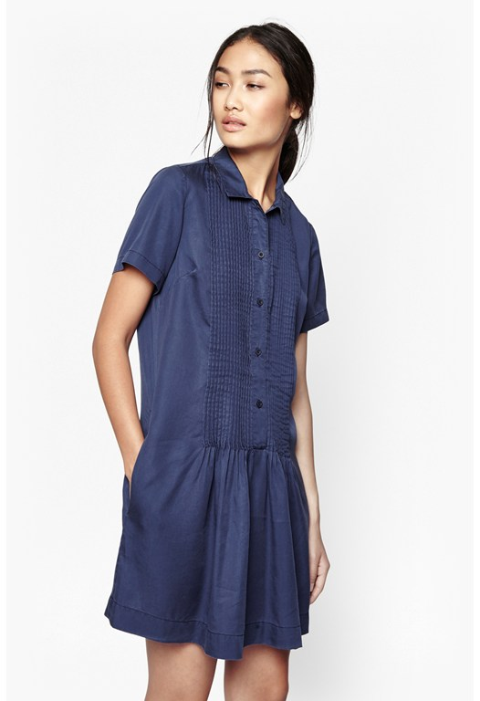 Cobalt Tencel Pleated Dress