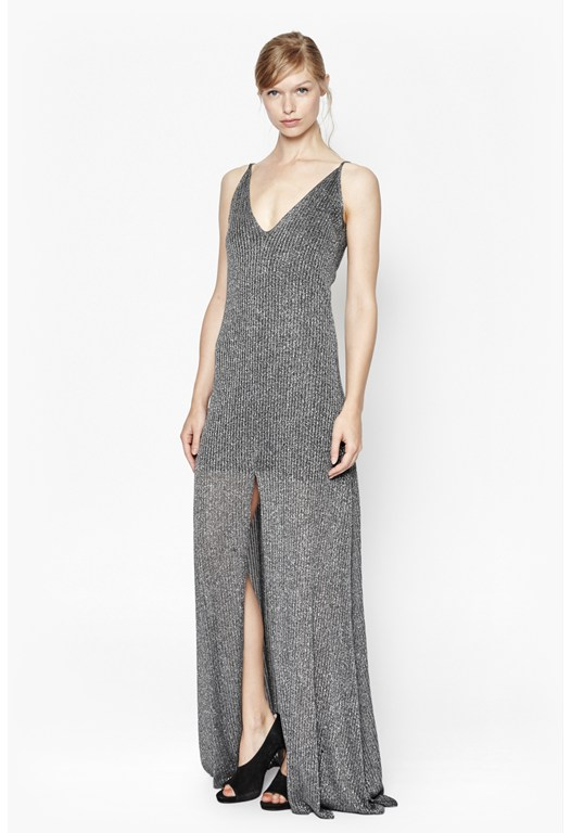 Flicker Ribbed Metallic Maxi