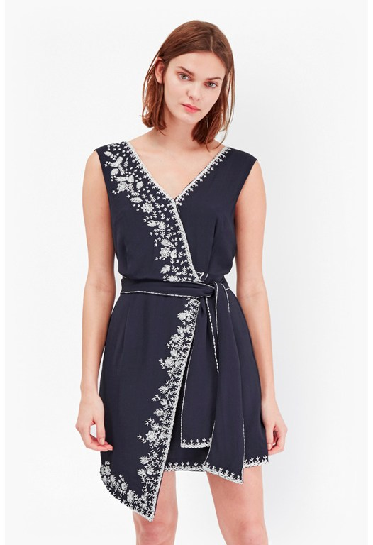 Jasmine Drape Embroidered Wrap Dress