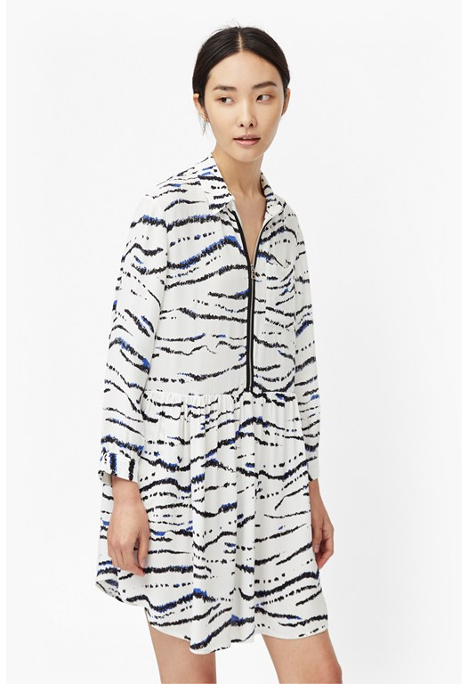 Tapir Wave Oversized Crepe Shirt Dress