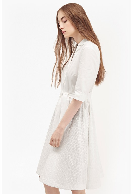 Geo Flora Cotton Shirt Dress