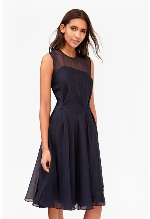 Sunray Draped Chiffon Dress