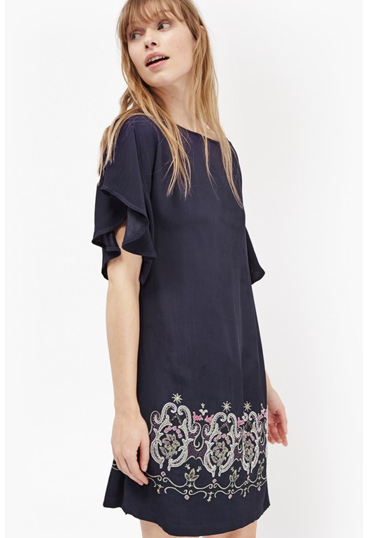 Casa Tile Bead Embroidered Shift Dress