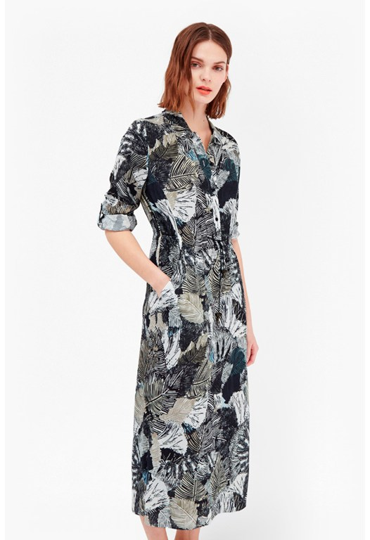 Lala Palm Maxi Shirt Dress