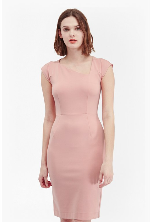 Lula Stretch Asymmetric Neck Dress