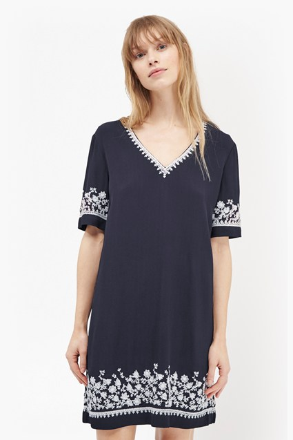Jasmine Drape Embroidered Tunic Dress