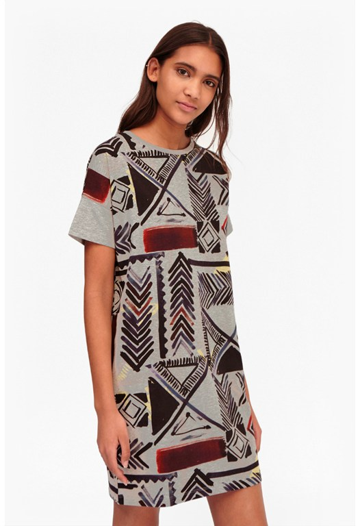 Empire Grid Cotton Dress