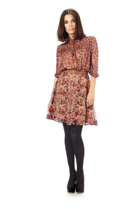 September Flower Flared Dress