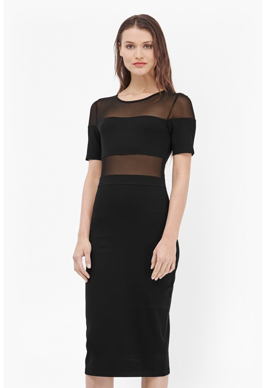 Mesh Together Bodycon Midi Dress