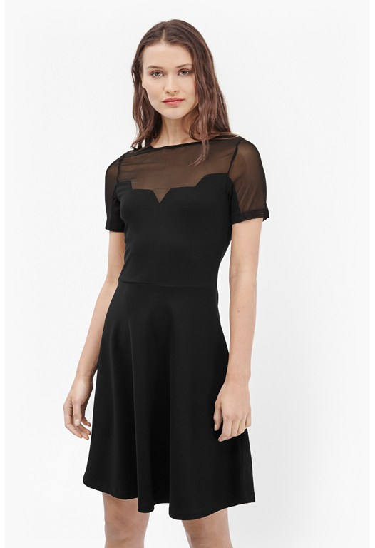 Linear Mesh Fit and Flare Dress
