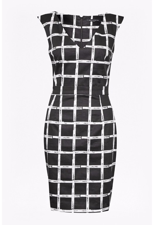 Sleeveless Check Fitted Dress