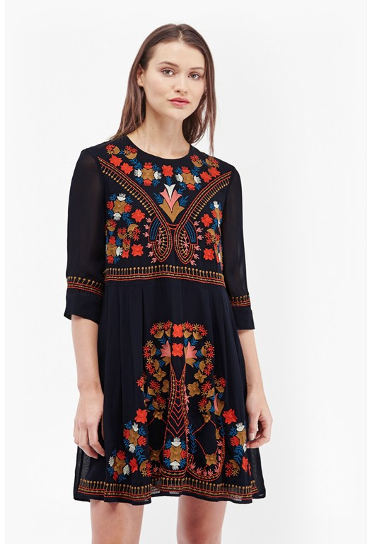 Colourful Kiko Embroidered Smock Dress
