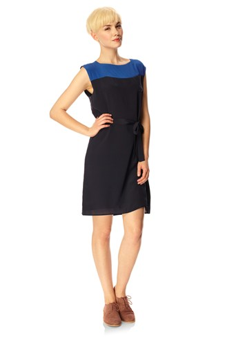 Sarah Silk Slash Neck Dress