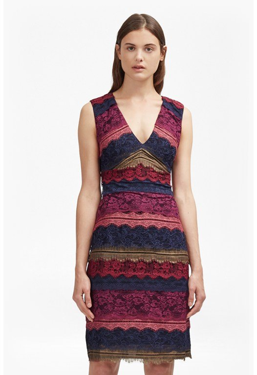Dallaway Stripe Lace Pencil Dress