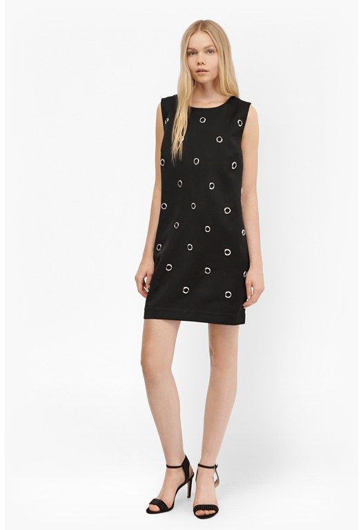 Midnight Satin Eyelet Tunic Dress