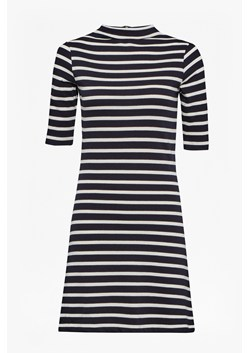Terry Stripe Mock Neck Dress