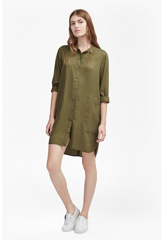 Military Tencel Shirt Dress