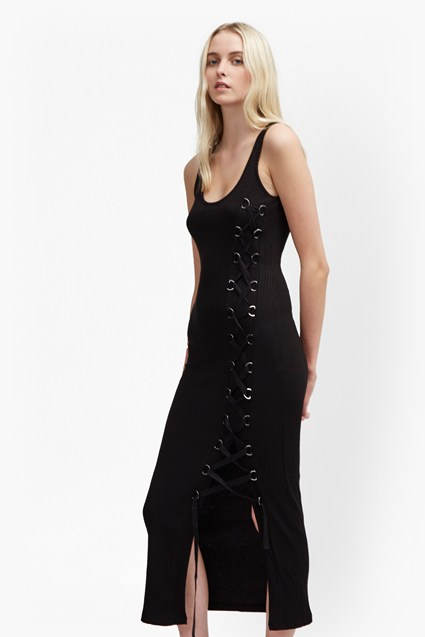 Tommy Rib Lace Up Maxi Dress