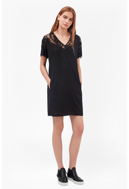 Midnight Tencel Lace T-Shirt Dress