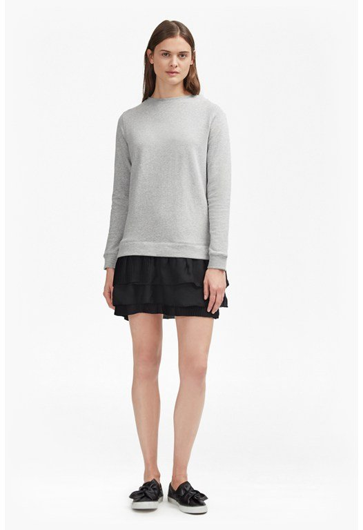 Tommy Pleated Georgette Sweatshirt Dress