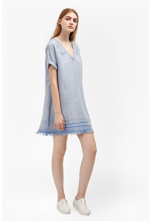 Field Fringe Sailor Neck Linen Dress