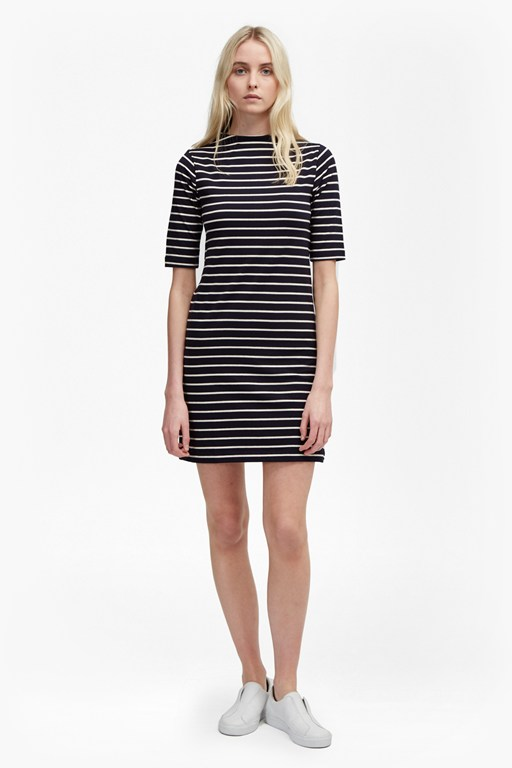 Terry Stripe High Neck Dress