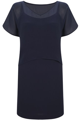 Crepe-Chiffon Tunic Dress Blue