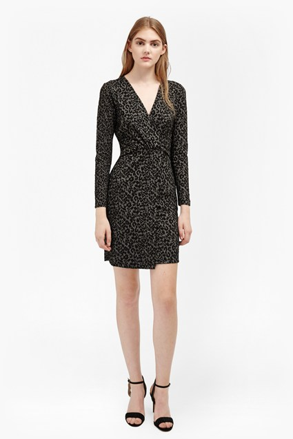 Cheetah Jacquard Wrap Front Dress